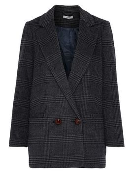 Woodside Double Breasted Checked Wool Blend Blazer by Ganni