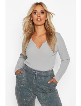Plus Rib Notch Front Longsleeve T Shirt by Boohoo