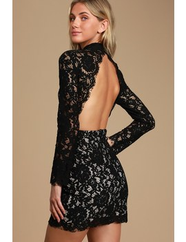 Automatically In Love Black Lace Backless Long Sleeve Mini Dress by Lulus
