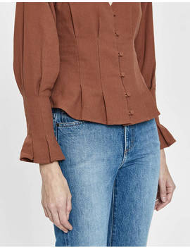 Leigh Pleated Button Top In Cocoa by Farrow Farrow
