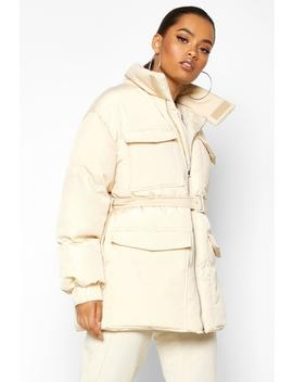 Double Pocket Belted Utility Puffer by Boohoo