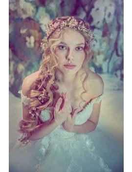 Romantic Half Wreath Half Crown Bridal Crown Romantic Style Wedding Hair Wreath Flower Crown Magaela Accessories Bridal Accessories by Etsy