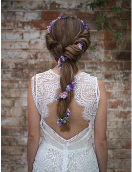 Purple Elegant Garland Flower Hair Garland Wedding Hair Flowers Head Wreath Flower Crown Bridal Wreath Fairy Wreath Floral Hair Crown by Etsy