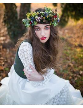 Woodland Flower Crown Fall Wedding Tiara Hair Wreath Whimsical Hair Flowers Wedding Bridal Headpiece Woodland Head Wreath by Etsy