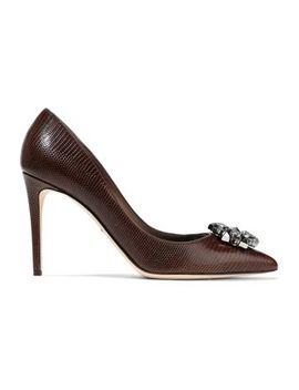 Bellucci Embellished Lizard Effect Leather Pumps by Dolce & Gabbana