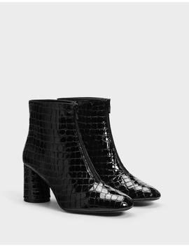 Embossed Faux Patent Highheel Ankle Boots   New   Bershka United Kingdom by Bershka