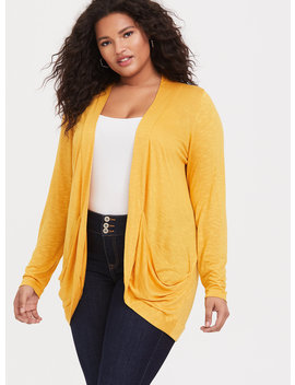Mustard Yellow Burnout Curved Front Cardigan by Torrid