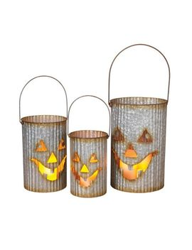 Nested Galvanized Halloween Hurricanes   Set Of 3 by Pottery Barn