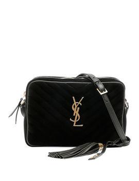 Lou Medium Ysl Monogram Quilted Velvet Crossbody Bag by Saint Laurent