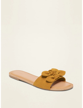 Faux Suede Double Bow Tie Slide Sandals For Women by Old Navy