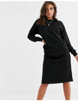 Boohoo Basic Midi Sweat Dress With Side Split In Black by Boohoo