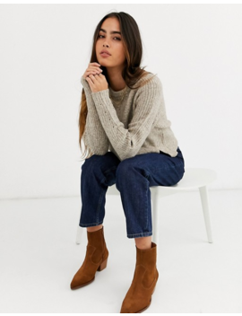 River Island Cropped Jumper In Oatmeal by River Island