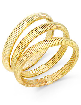 Gold Tone Trio Set Of Herringbone Stretch Bracelets, Created For Macy's by General