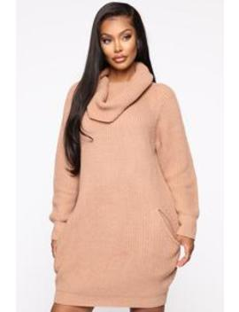 No Chills Sweater Mini Dress   Stone by Fashion Nova