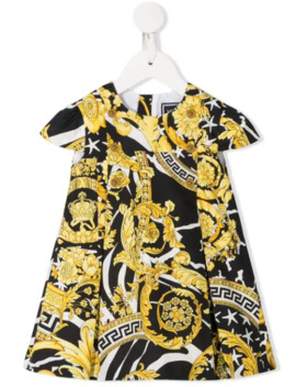 Printed Pleated Dress by Young Versace