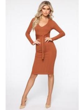 Talk Later Sweater Midi Dress   Rust by Fashion Nova