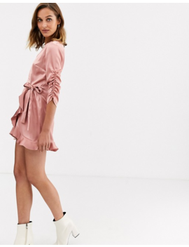 River Island Long Sleeve Wrap Satin Playsuit In Dusty Pink by River Island