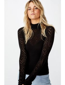 Pointelle Mock Neck by Cotton On