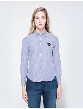 Black Heart Striped Play Shirt by Comme Des Garçons Play Comme Des Garçons Play