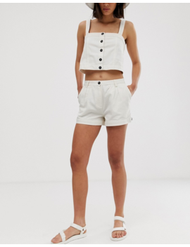 Weekday Button Detail Two Piece Shorts In White by Weekday