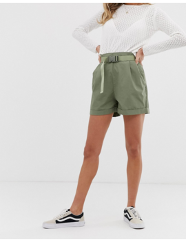 Pull&Amp;Bear Parachute Belted Utility Shorts In Khaki by Pull&Bear