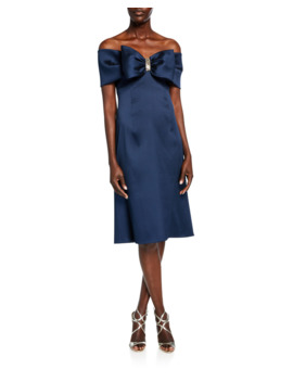 Bow Front Off The Shoulder Stretch Gazar A Line Dress by Rickie Freeman For Teri Jon