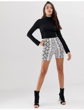 Asos Design Long Sleeve Crop Top With Turtleneck And Raw Hem In Rib In Black by Asos Design