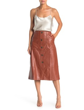 Faux Leather Button Accent Midi Skirt by 14th & Union