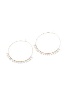 14k Gold Large Hoop & Pearl Dangle Earrings by Mizuki
