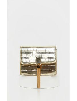 Gold Croc Cross Body Bag by Prettylittlething