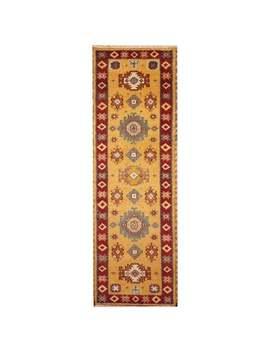 Herat Oriental Indo Hand Knotted Tribal Kazak Wool Runner (2'2 X 6'7)   2'2 X 6'7 by Herat Oriental