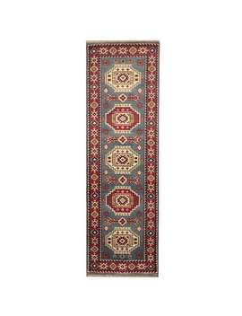 Handmade Herat Oriental Indo Kazak Light Blue/ Red Wool Runner (India)   2'7 X 8' by Herat Oriental