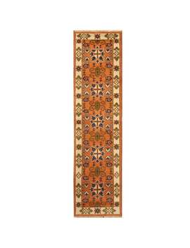 Handmade Herat Oriental Indo Tribal Kazak Wool Runner (India)   2'8 X 10' by Herat Oriental