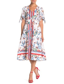 Floral Print Tie Sleeve Midi Dress by Julia Jordan