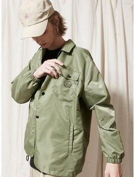 Happy Vibes Chest Pocket Coach Jacket Khaki by Urbandtype