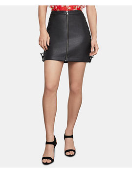 Faux Leather Lace Up Mini Skirt by General