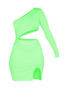 Neon Lime Ribbed Waist Cut Out One Shoulder Bodycon Dress by Prettylittlething