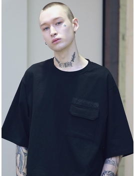 Logo Pocket Oversized Tee Shirts Black by Massnoun