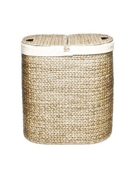 Seville Classics Water Hyacinth Lidded Oval Double Hamper Natural by Seville Classics