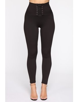 Made You Look Lace Up Leggings   Black by Fashion Nova