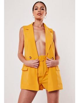 Tall Yellow Co Ord Belted Tailored Shorts by Missguided