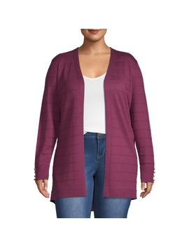 Heart & Crush Women's Plus Size Textured Open Cardigan With Buttons by Heart & Crush