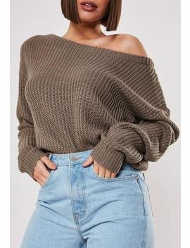 Tall Taupe Off Shoulder Crop Knitted Jumper by Missguided