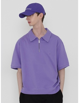 Zip Up Pk T Shirt Purple by Lieu Homme