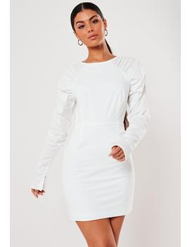 White Cotton Poplin Puff Sleeve Mini Dress by Missguided