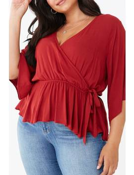 Plus Size Faux Wrap Top by Forever 21