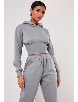 Sofia Richie X Missguided Grey Corset Hoodie by Missguided