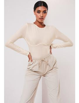 Sofia Richie X Missguided White Long Sleeve Corset Seam Bodysuit by Missguided