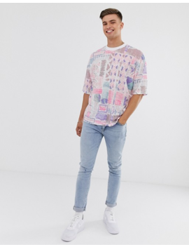 Asos Design Oversized T Shirt With All Over Vintage Inspired Abstract Print by Asos Design