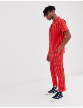 Sacred Hawk Two Piece Relaxed Fit Pants In Red Stripe by Sacred Hawk's